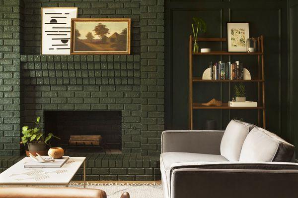 best living room ideas - hunter green living room with modern furniture