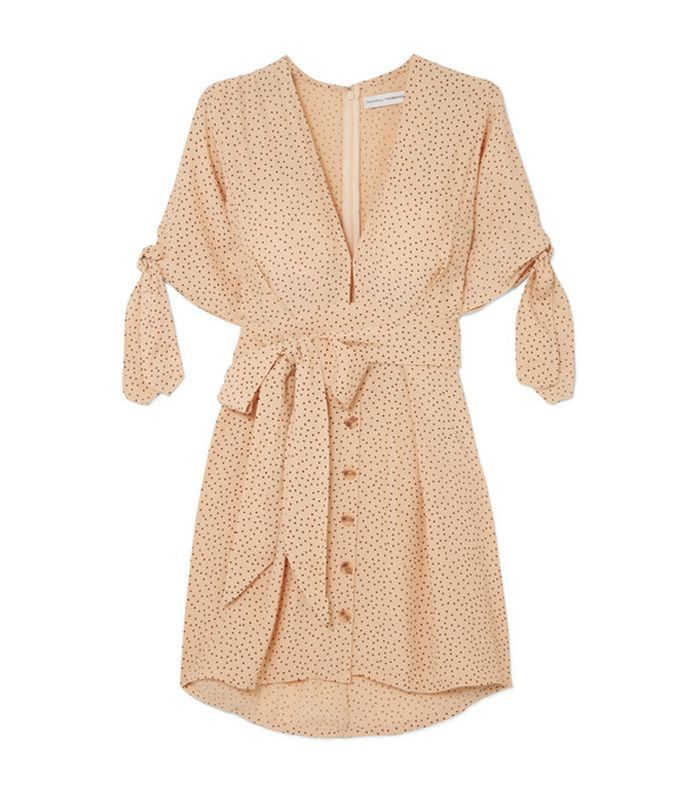 Faithfull the Brand Birgit Tie-Detailed Polka-Dot Crepe de Chine Mini Dress