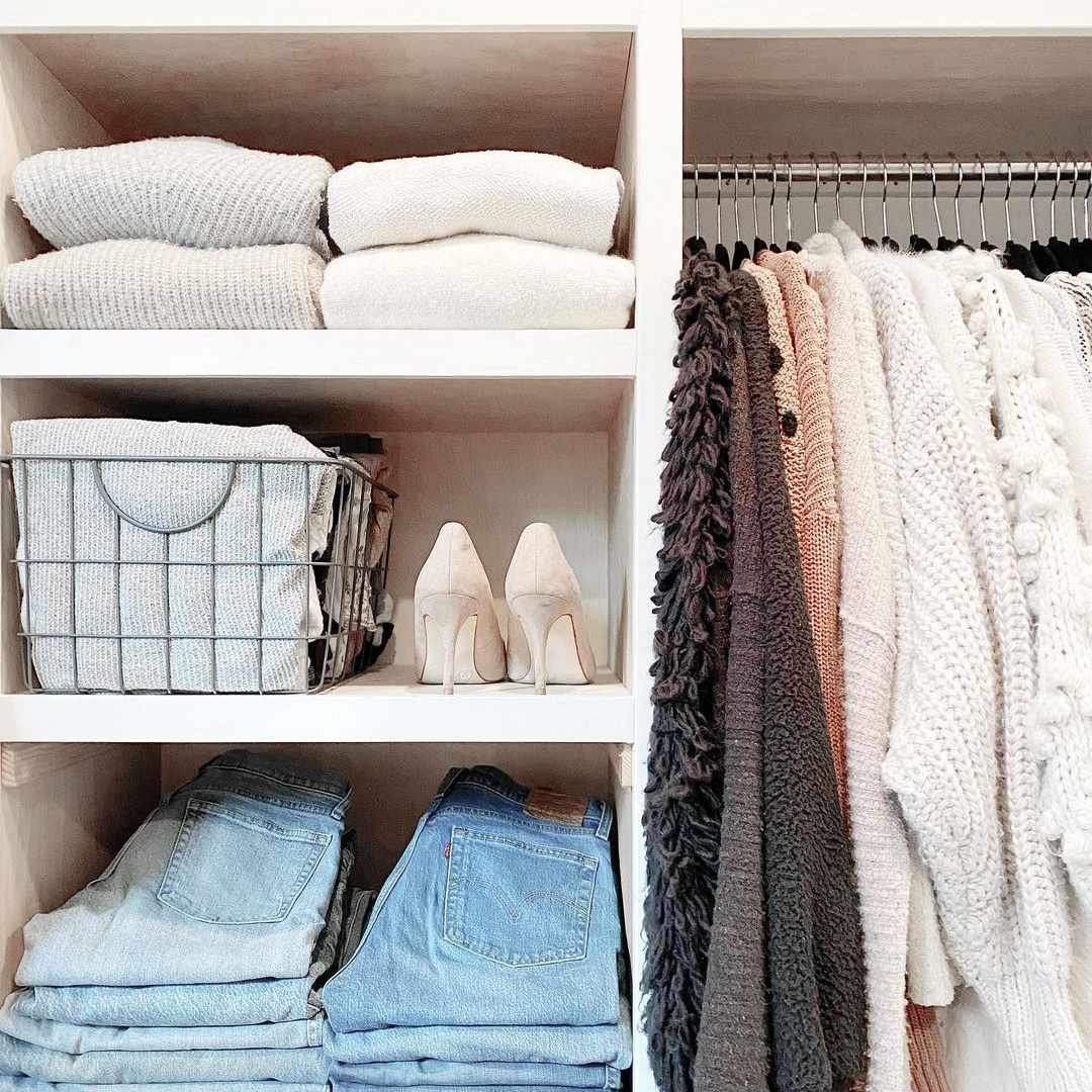 Closet with folded jeans