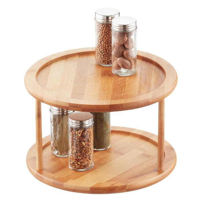 The Container Store 2-Tier Bamboo Lazy Susan