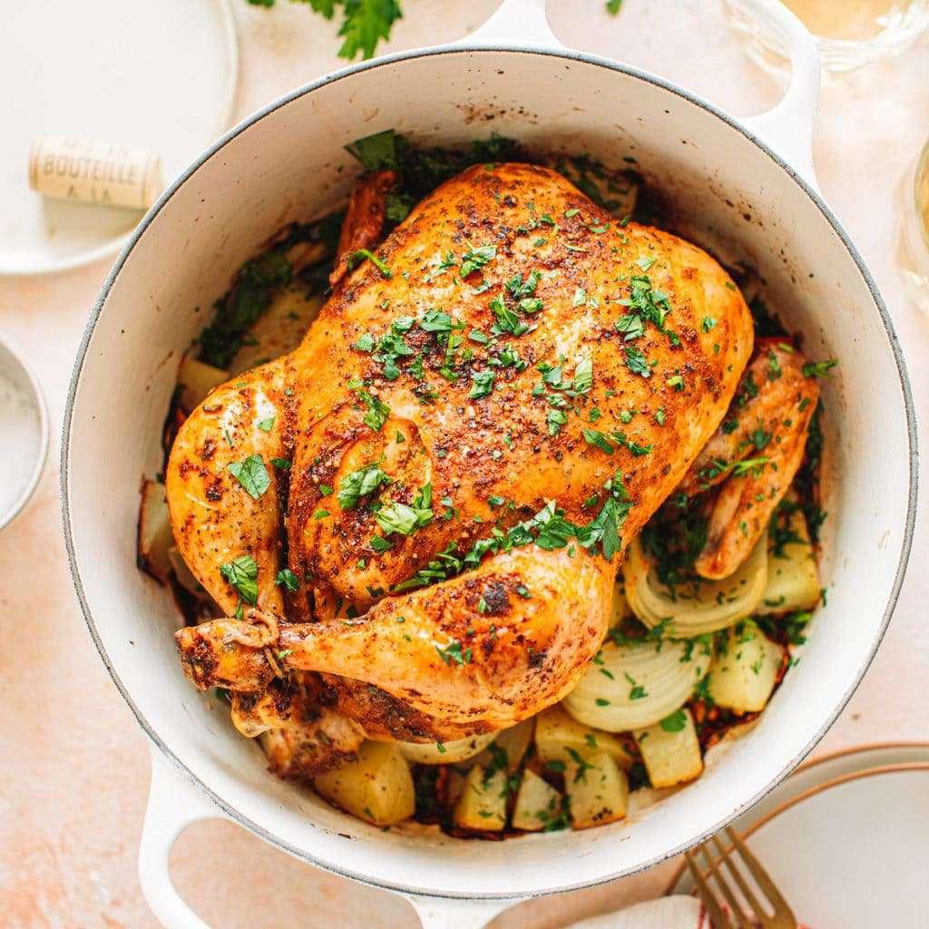 Roast chicken in a dutch oven.