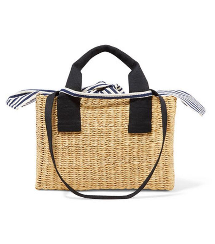 Ninon Straw and Striped Cotton-Canvas Tote