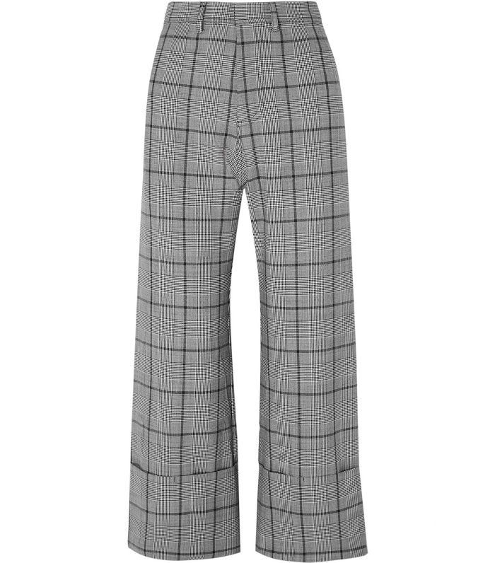 Bacall Cropped Checked Woven Wide-leg Pants