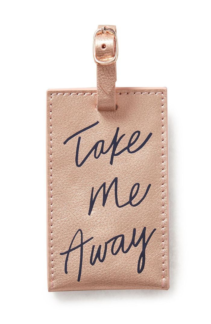 Anthropologie Take Me Away Leather Luggage Tag -