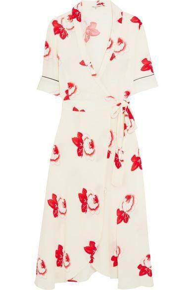 Floral-print Crepe De Chine Wrap Dress