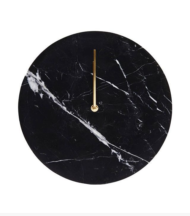 Menu Black Marble Wall Clock with Brass Hands