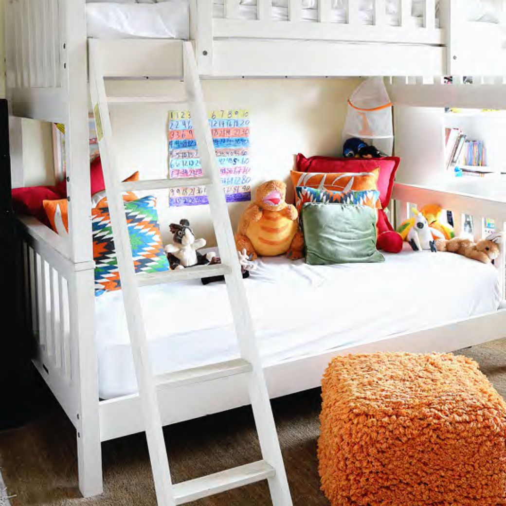 Colorful bunk bed in room