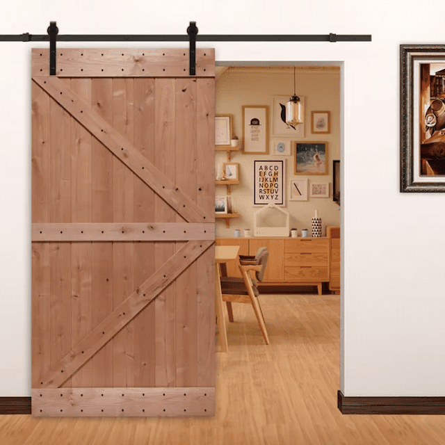 Paneled Wood Unfinished Barn Door with Installation Hardware Kit