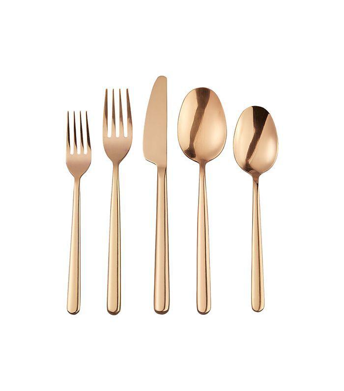 20-piece allegra soft copper flatware set