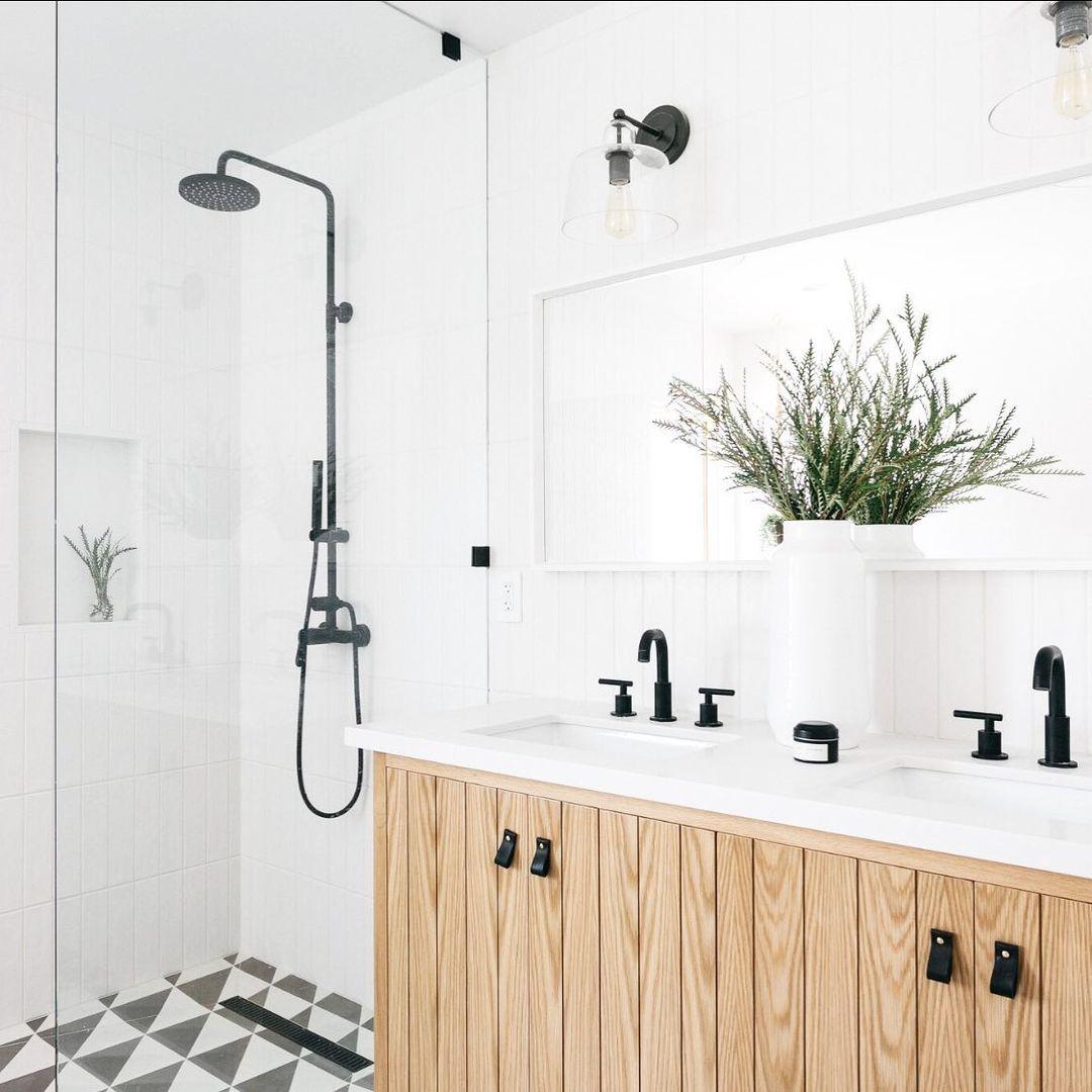 White and wood bathroom