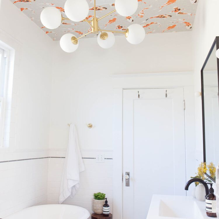 Bathroom with ceiling wallpaper