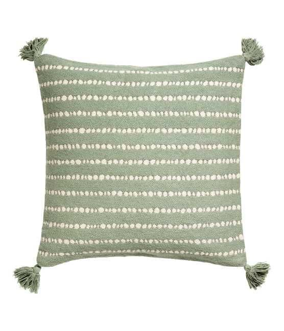 - Cushion Cover with Tassels - Dusky green/white dotted - H & m Home