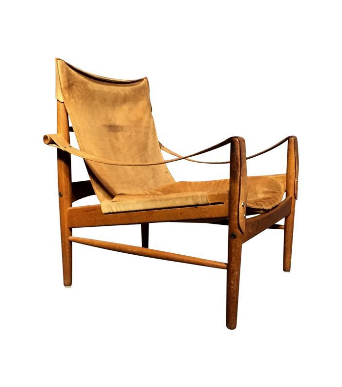 Hans Olsen Antilop Suede and Oak 1960s Safari Chair