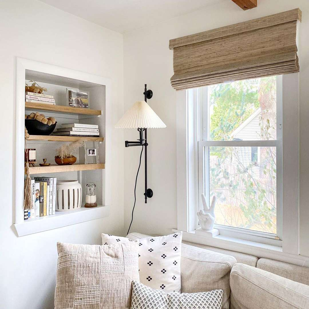 Neutral living room with built-in shelf.