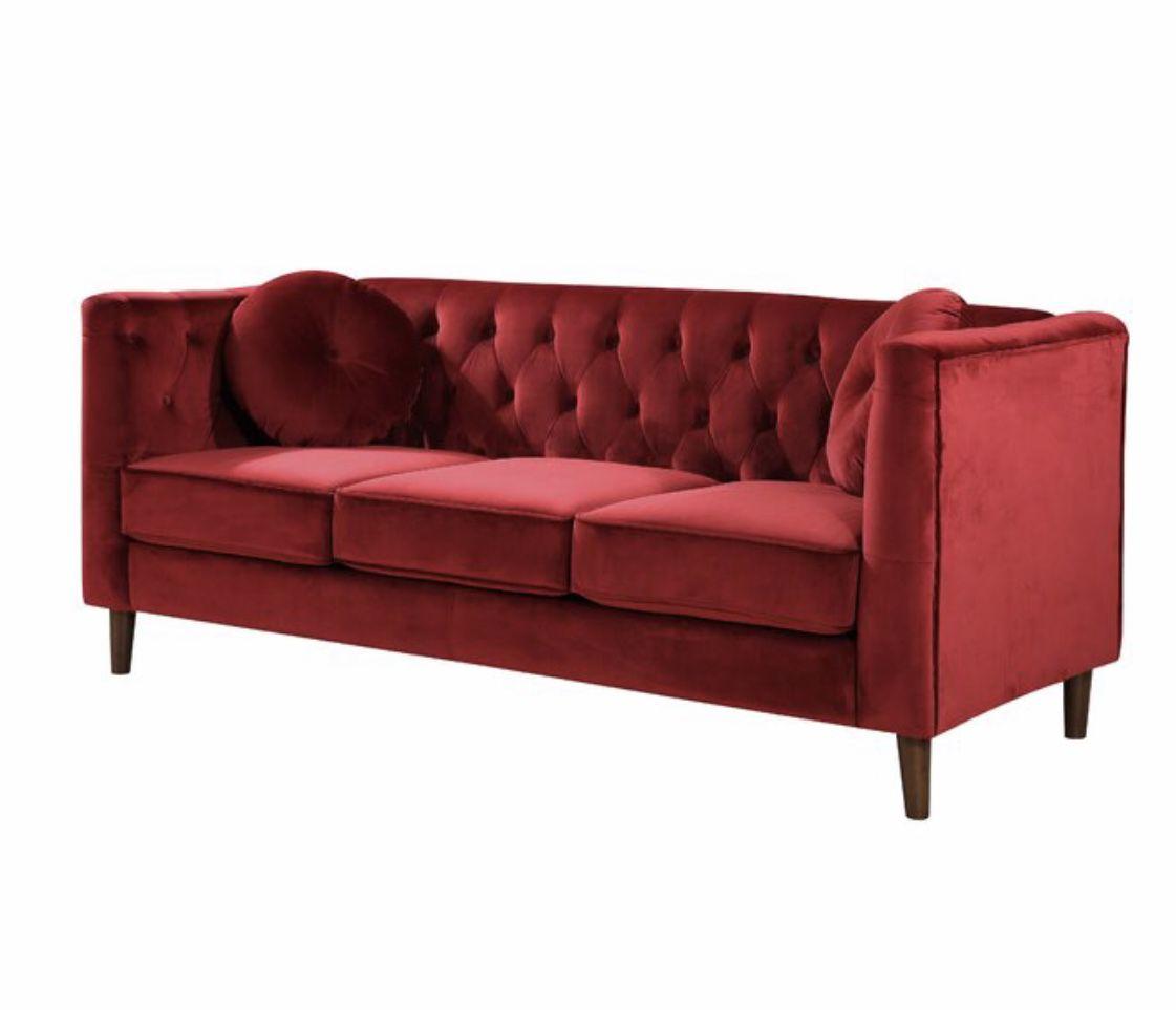 Kitts red velvet chesterfield wayfair