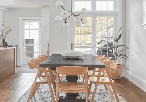 how to clean rugs - woven rug in modern dining area