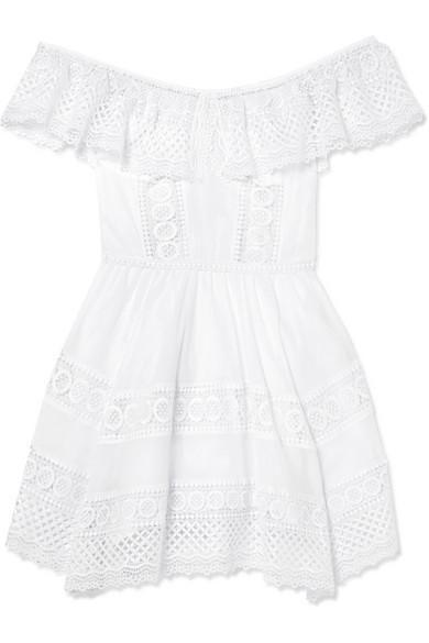 Vaiana Off-the-shoulder Cotton-blend Mini Dress