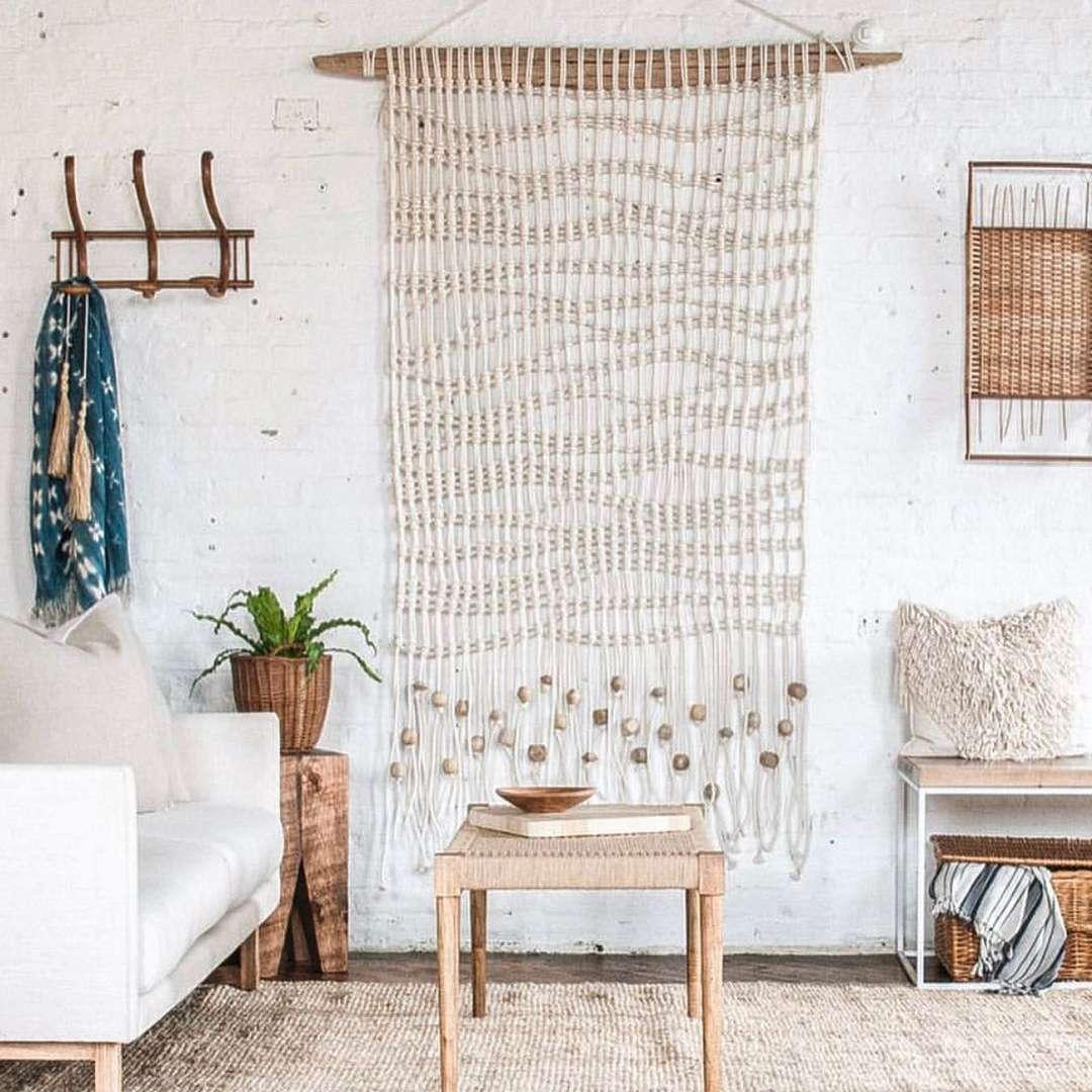 Macrame wall hanging in a boho living room