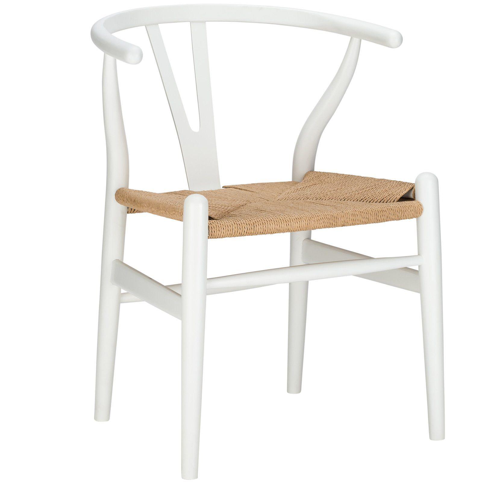 White and woven wishbone chair