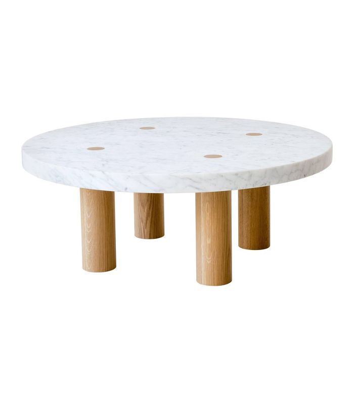 Fort Standard Stone Column Coffee Table in Carrara Marble and White Oak Wood