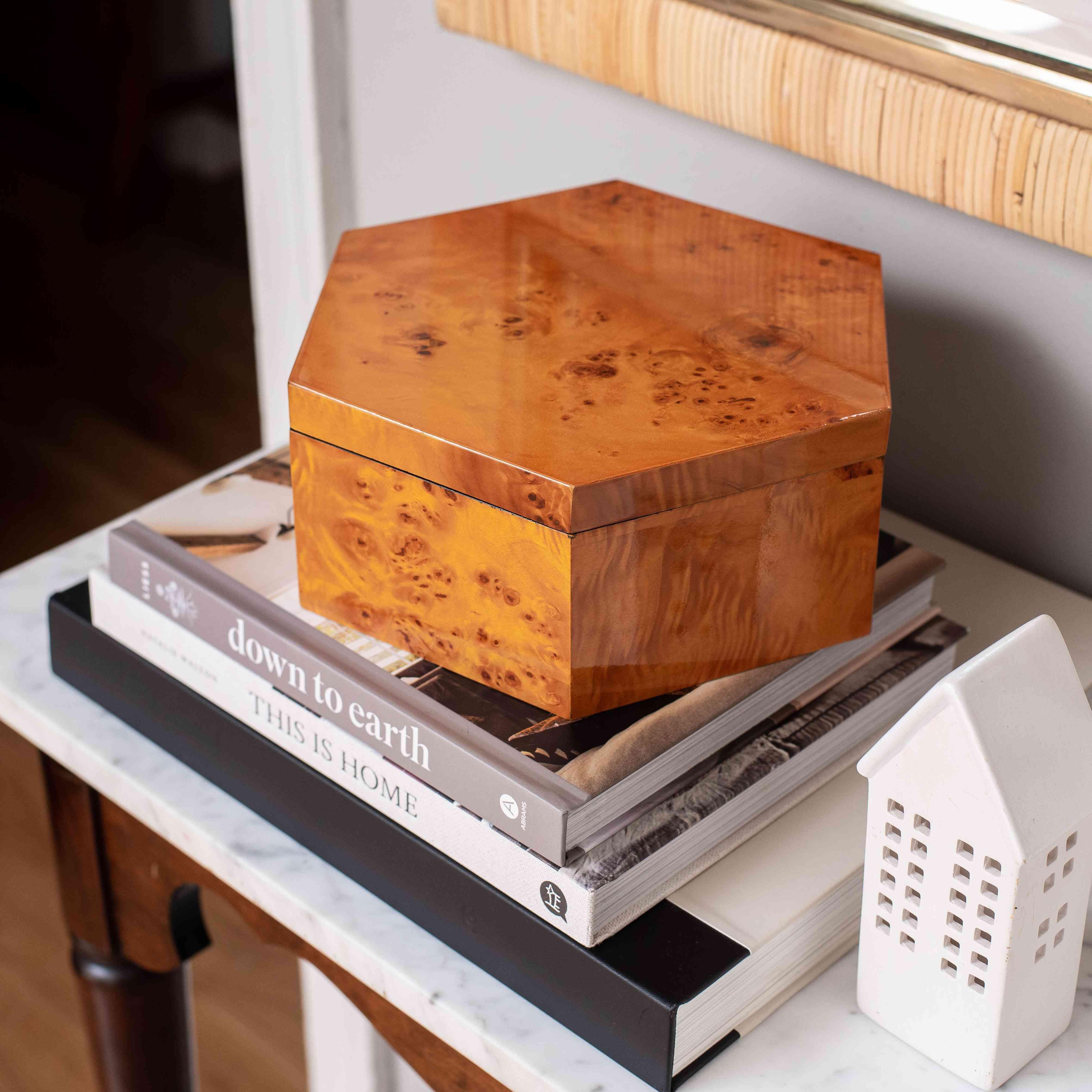 Burl wood box.