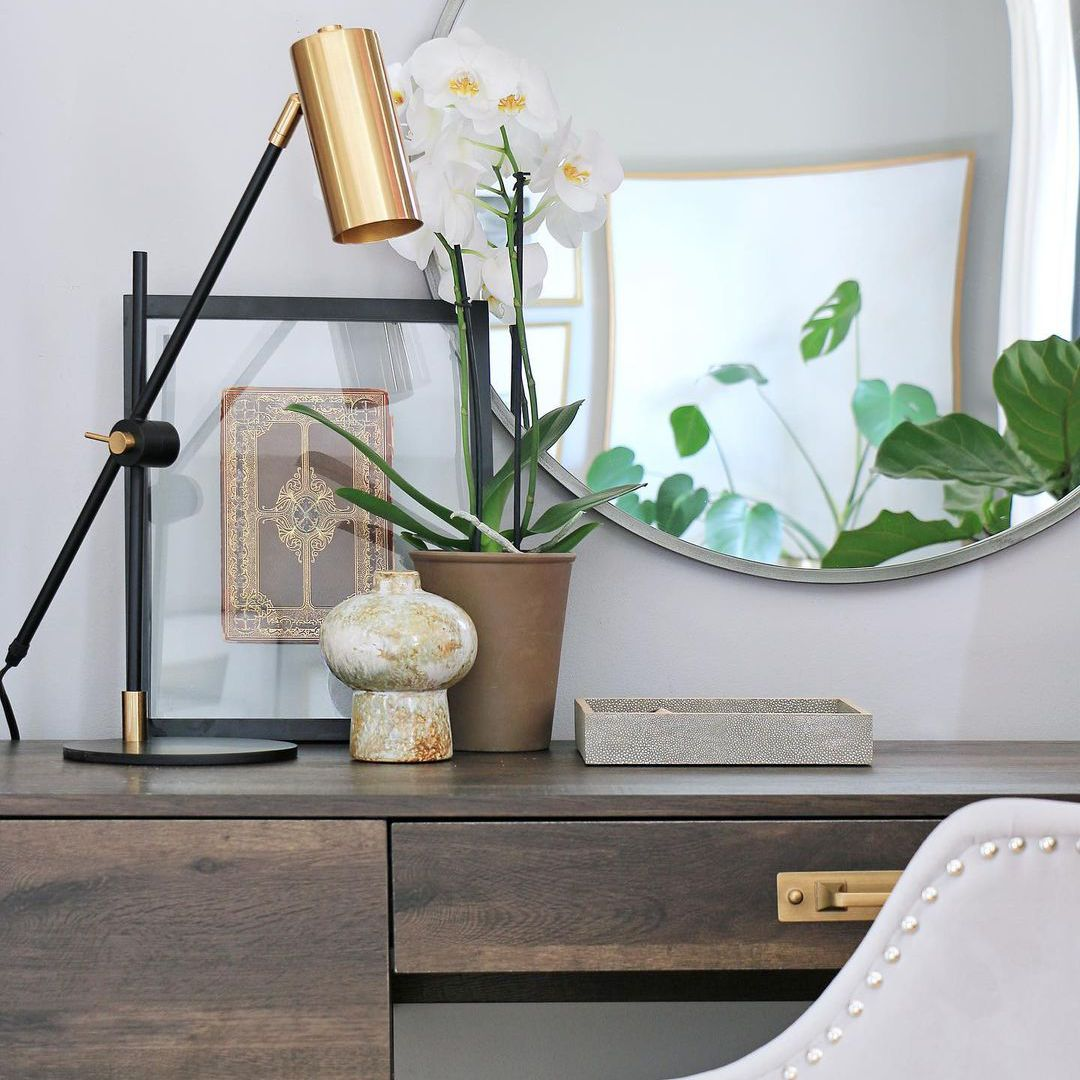 Desk with gold accents