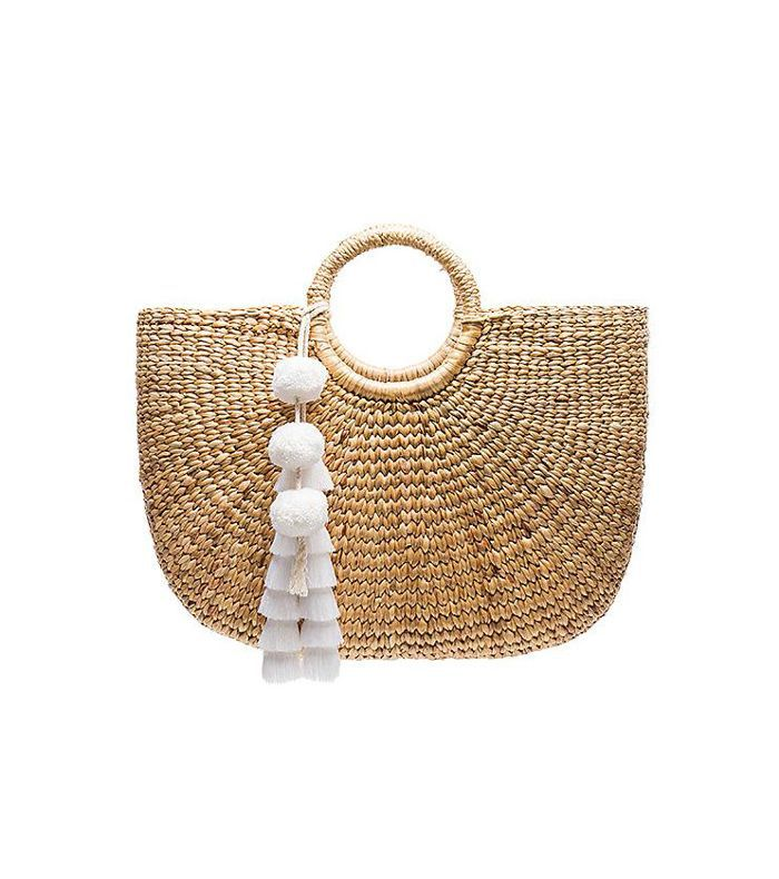 Large Basket Tote in Beige.