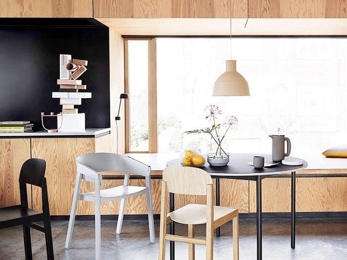 a minimalist dining area