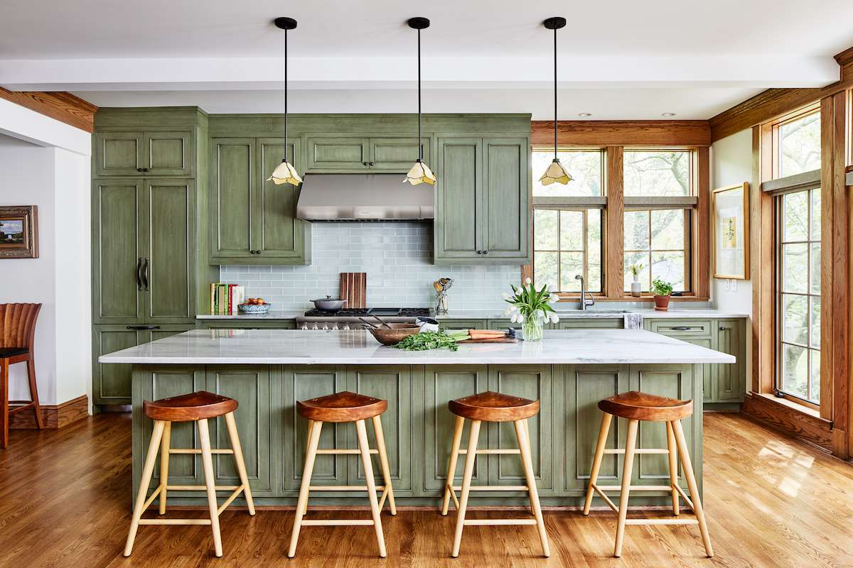 Green country style kitchen