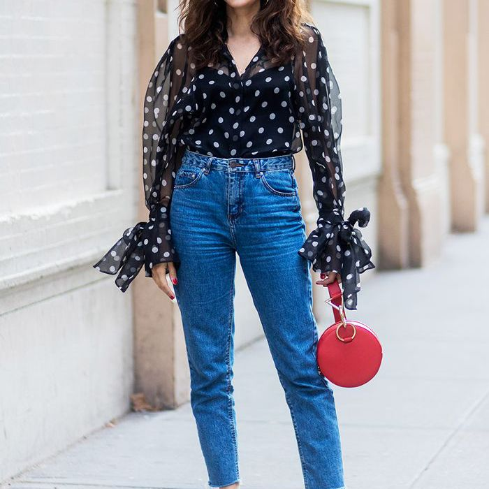 76268cada1 Outfit Formula #1: Blouse, Relaxed Jeans, and Pumps