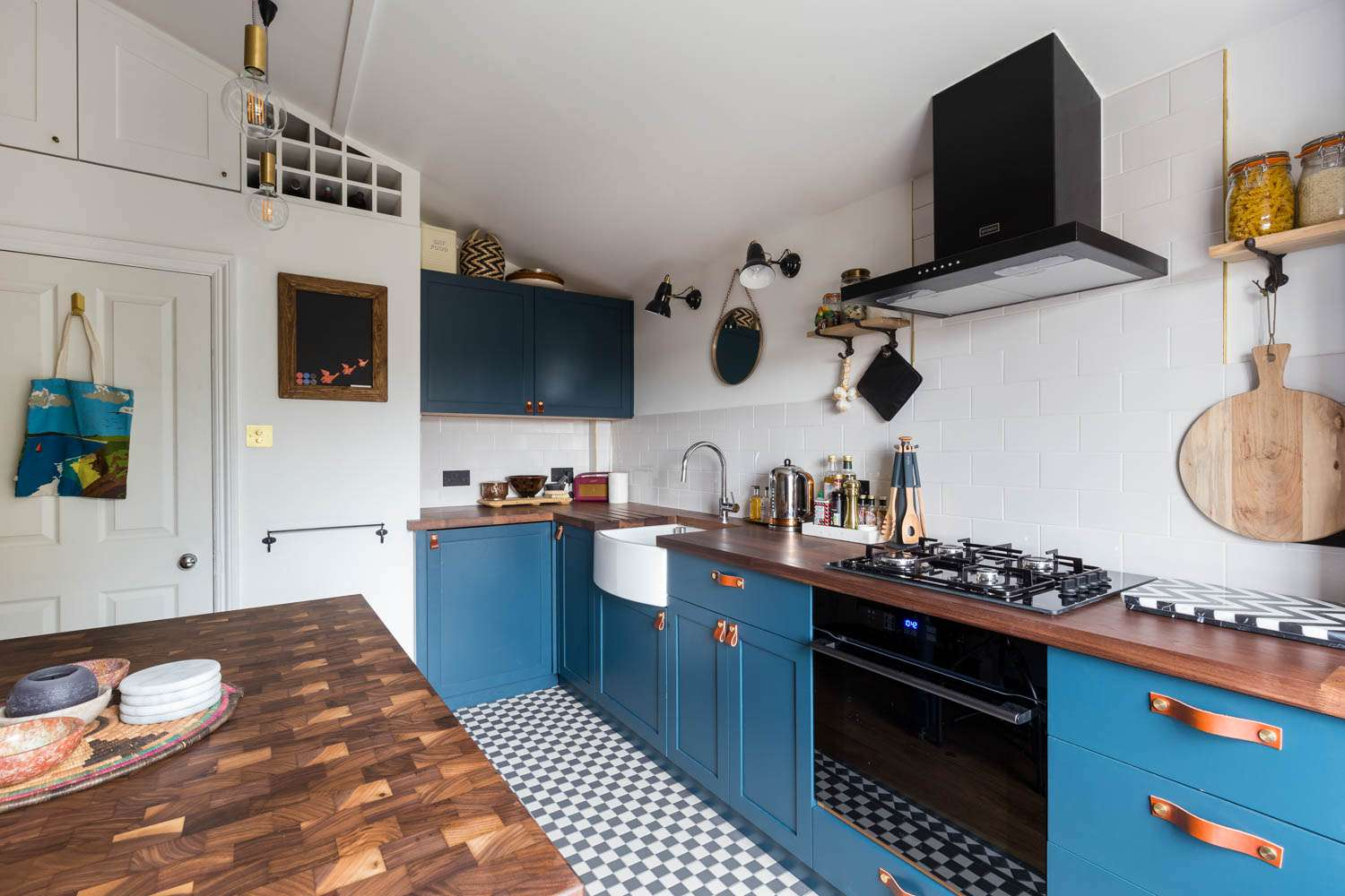 Blue cabinets and leather pulls