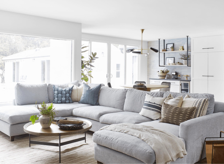 Large comfy gray sofa.