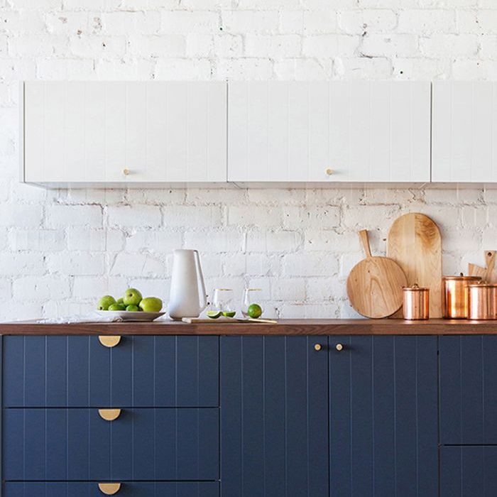 Kitchen Design Blue And White Cabinets