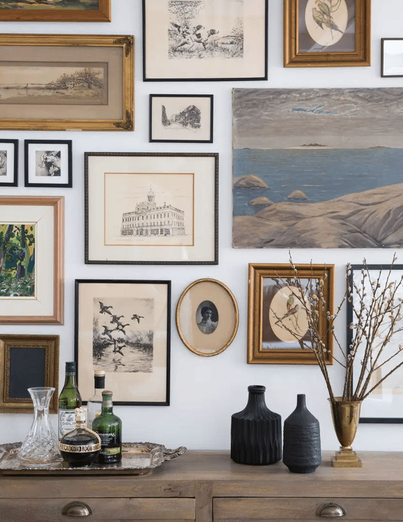 A close-up shot of a gallery wall