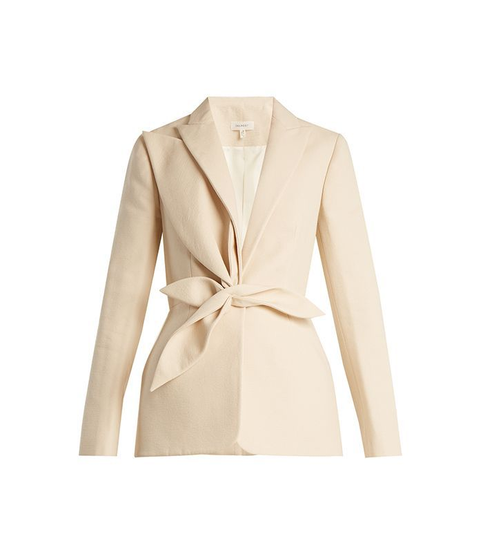 Single-breasted draped-appliqué cotton jacket
