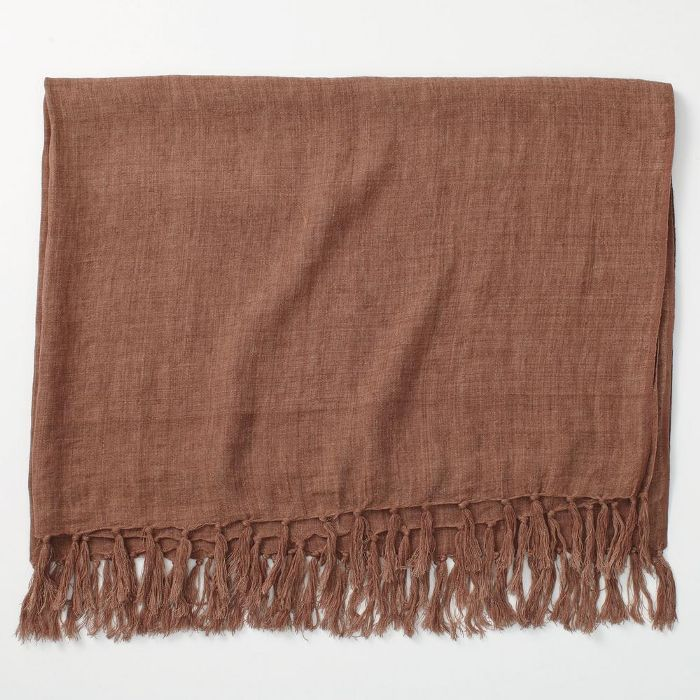 The Company Store Belgium Linen Clay Fringed Throw