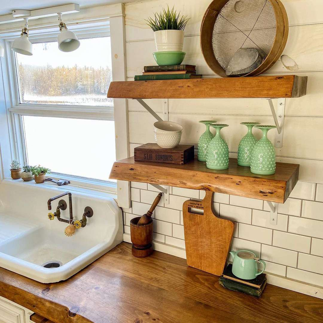 Kitchen with reclaimed wood countertops