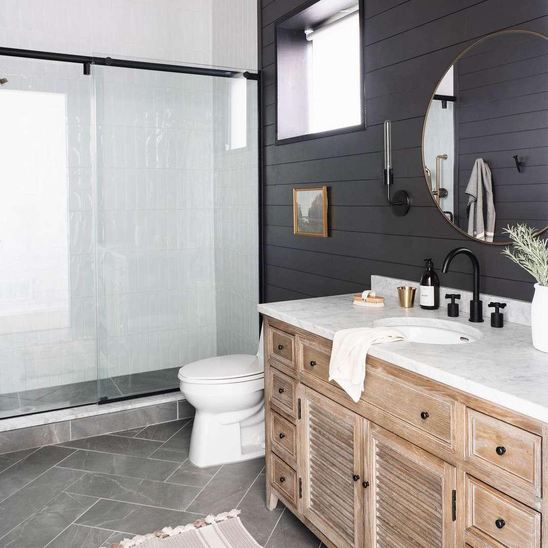 Bathroom with black shiplap