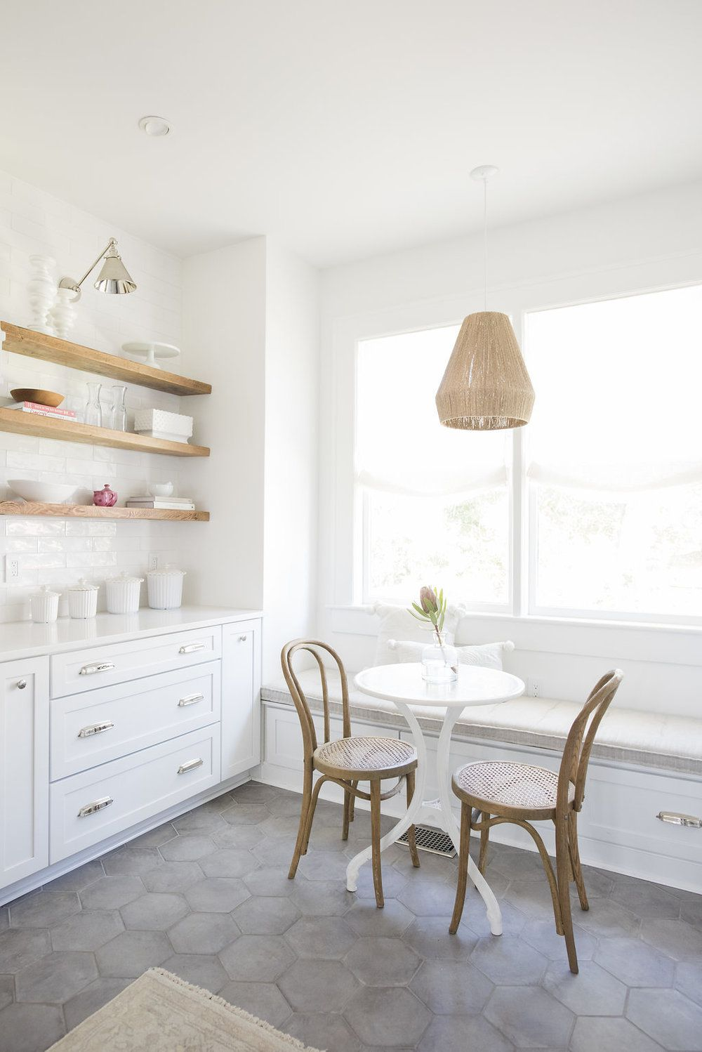 best kitchen ideas - small bistro table and window seat
