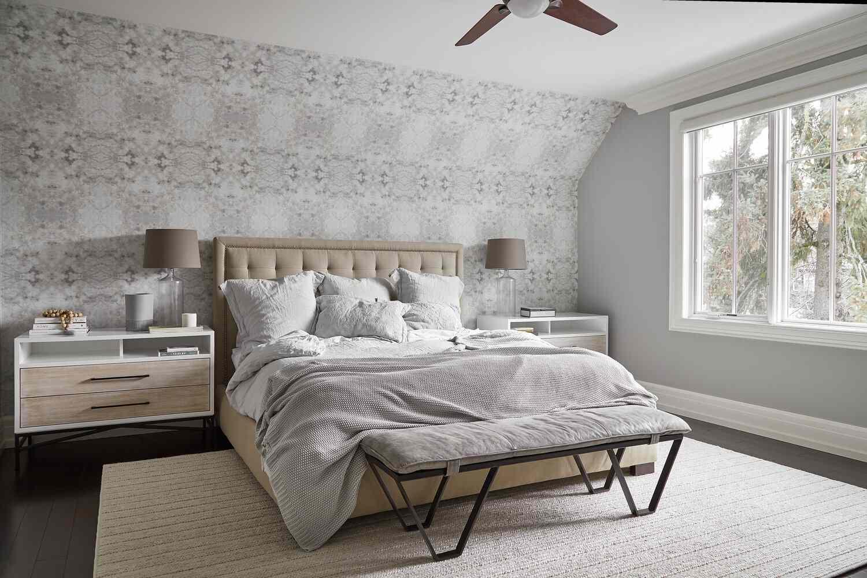 gray wallpaper in bedroom
