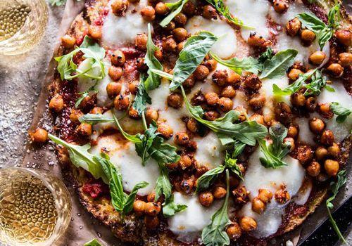 Cauliflower Pizza with Chickpeas