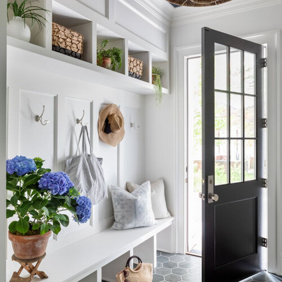 White mudroom with built-ins.