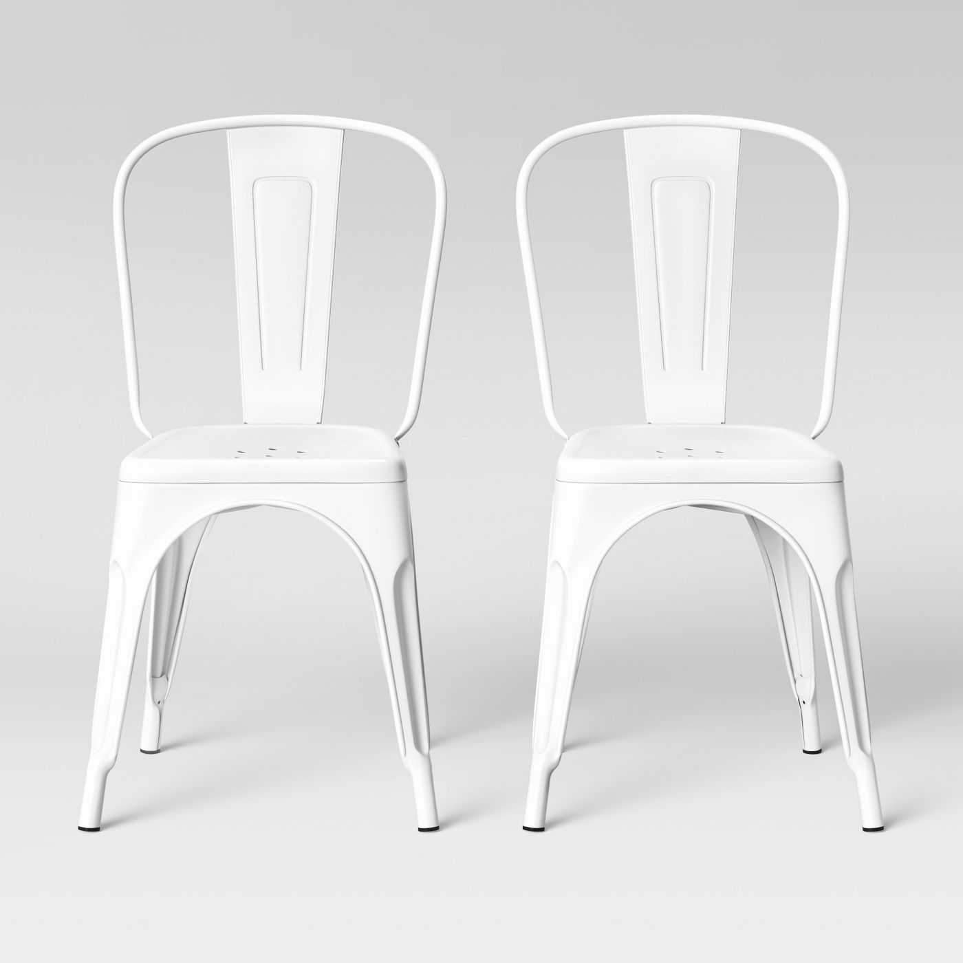 Carlisle High Back Dining Chairs in Matte White, Set of 2
