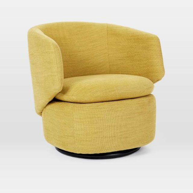 Crescent Swivel Chair in Horseradish