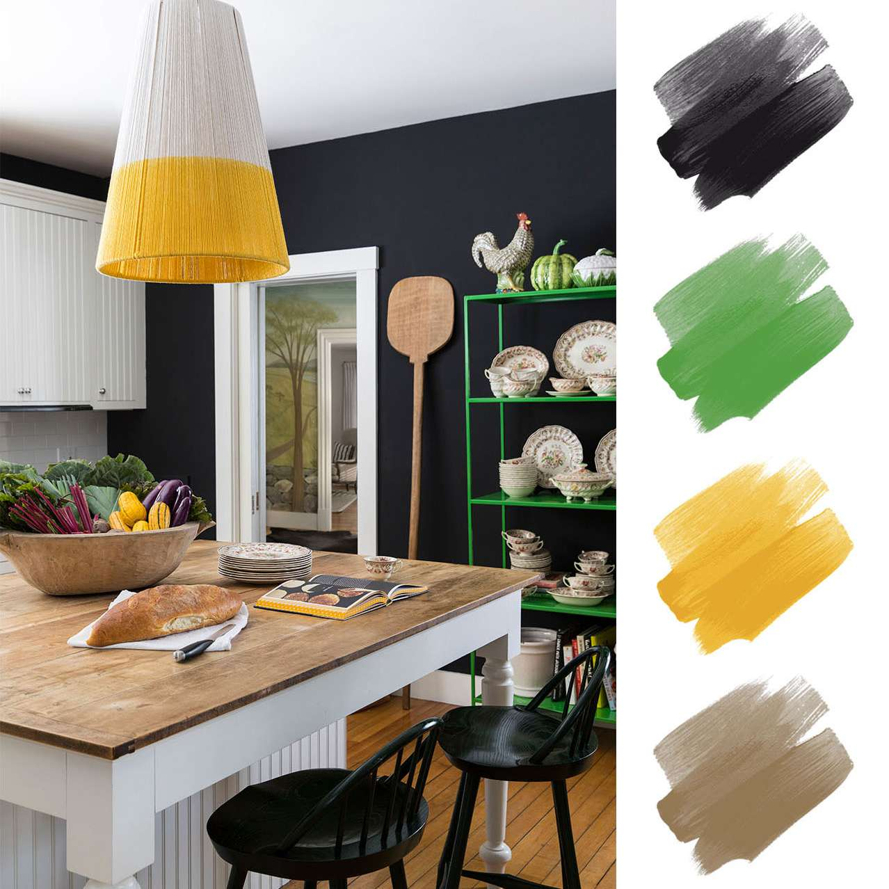 kitchen color schemes - black, green, and yellow