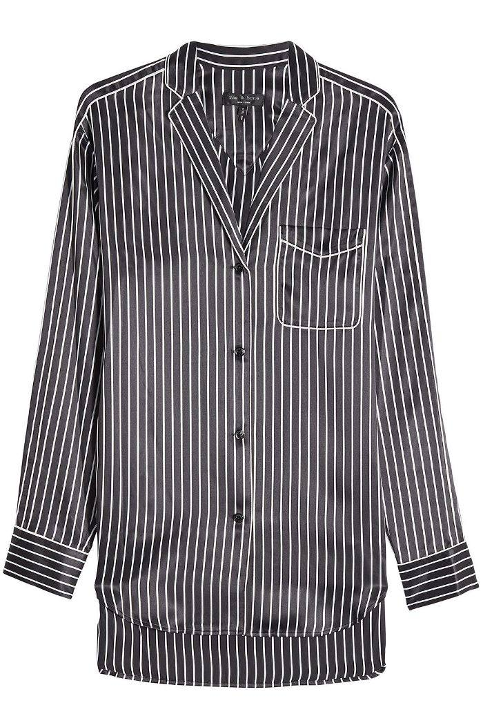 Striped Silk Pajama Shirt