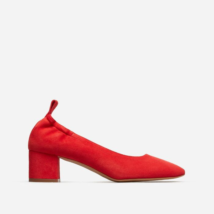 Women's Pump Heel by Everlane in Red Suede, Size 11