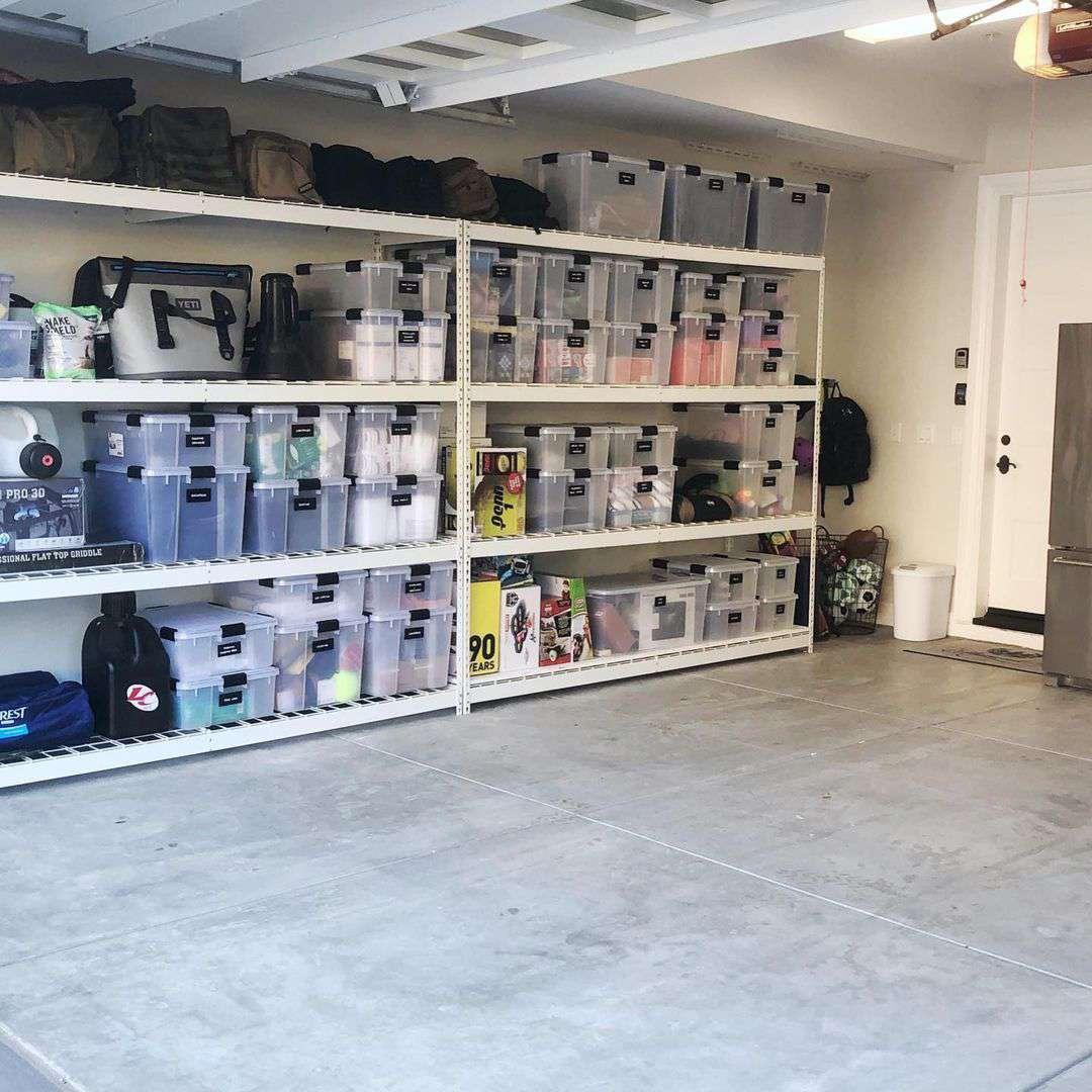 Garage with storage bins