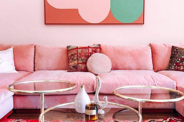 Pink velvet sofa.