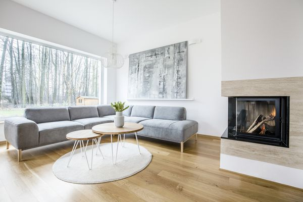 Cozy living room with abstract art